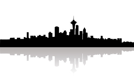 downtown: Silhouette of downtown Seattle in black on a white background