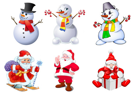 clauses: Set of beautiful Santa Clauses and snowmen Stock Photo