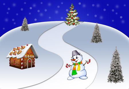 winter tree: Winter Christmas landscape with a snowman and Christmas tree elegant