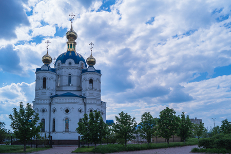 St. Alexander Nevsky church in cloudy weather Stock Photo