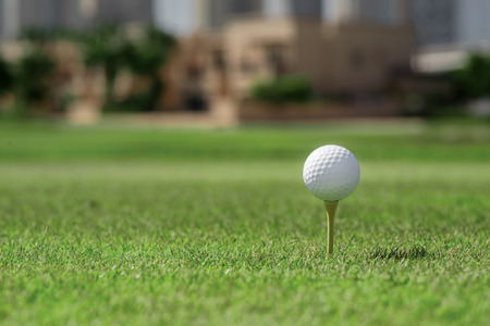 The best day for golfing. Golf ball is on the tee for a golf ball on the grass on a golf course on the background of the city skyscrapers