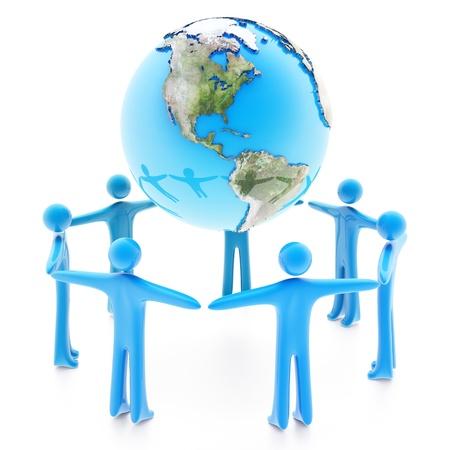 흰 배경에 고립 된 손을 잡고 지구 행성 주위에 서있는 사람들