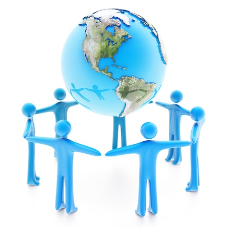Peoples standing around the Earth planet holding hands, isolated on white background photo