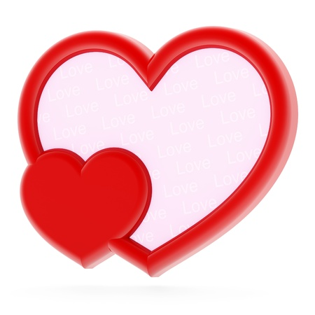 plastic heart: Red heart-shaped photo frame on white background Stock Photo