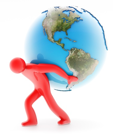 Red man figure holding Earth, isolated on white background Stock Photo - 10118924