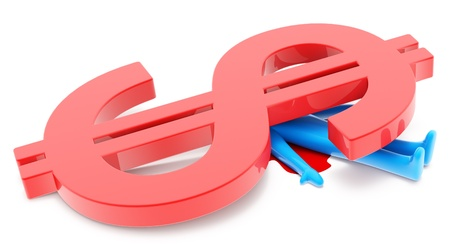 Blue man figure crushed by red dollar sign isolated on white background Stock Photo - 10164252