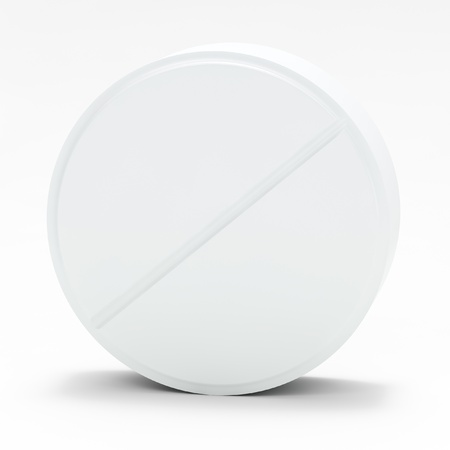 White medical pill on white background, with shadow