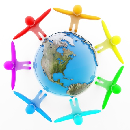 Multicolor peoples holding hands around the Earth, top view, isolated on white, 3d render photo