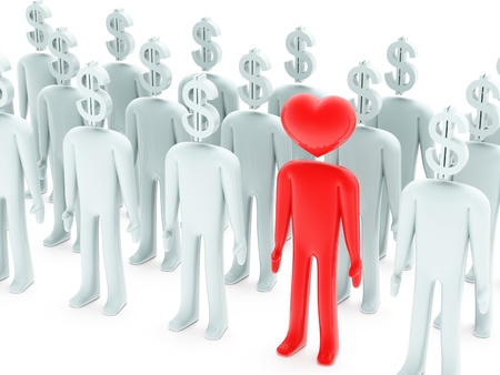 Many peoples with dollar-shaped head and one with heart-shaped head on white background