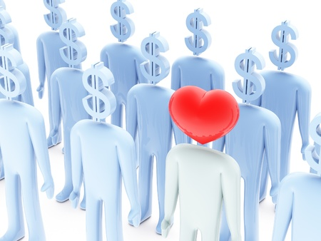 Many peoples with dollar-shaped head and one with heart-shaped head on white background photo
