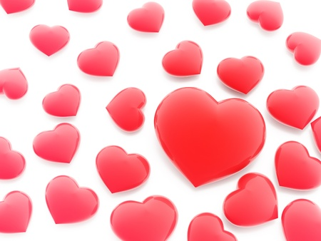 hart: Beautiful red hearts on white background (love symbol)