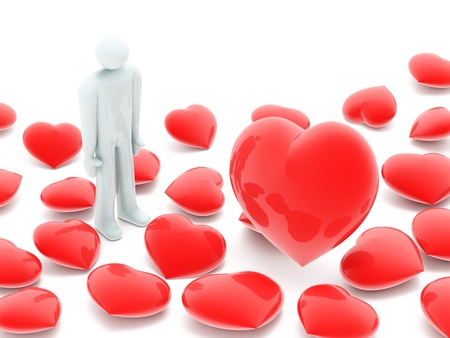 hart: Man and many beautiful red hearts on white background