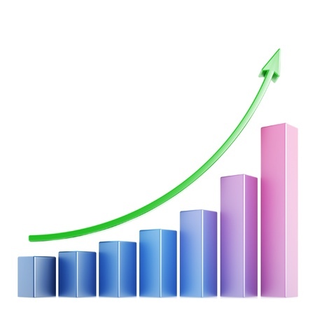 sales graph: Business chart 3d over white background
