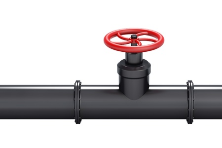 Black oil pipe with red valve, isolated on white background