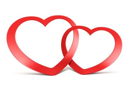 Dos se uni� a corazones rojos sobre fondo blanco