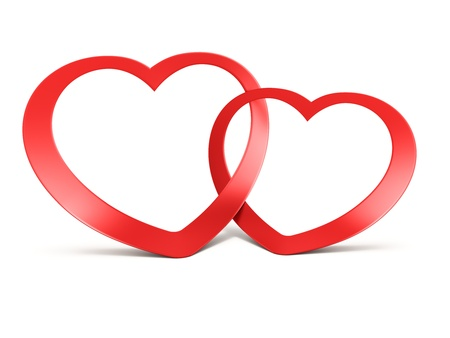 declaration of love: Two joined red hearts on white background