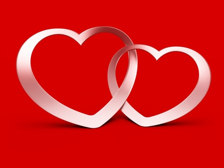 constancy: Two jointed hearts on red background