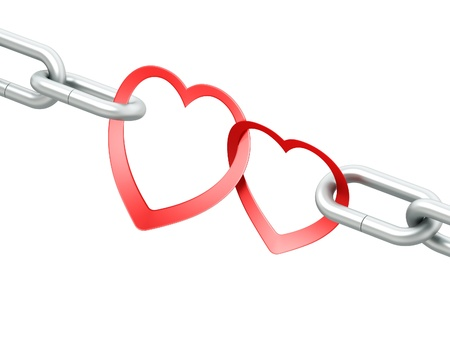 declaration of love: Steel chain with two joined red hearts on white background