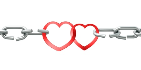 constancy: Steel chain with two joined red hearts on white background