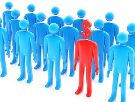 One dollar-shaped red figure between many blue peoples on white background Stock Photo - 10546921