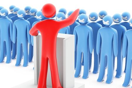 Dictatuur - een rode figuur tegen een groot aantal blauwe cijfers met gesloten mond te Stockfoto