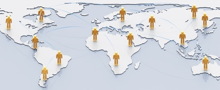 Social network concept: people with links over earth map Stock Photo - 10546924
