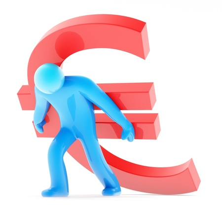 Blue human figure carring red euro sign on white background, 3d render photo