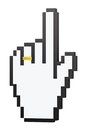 Cursor for married concept: hand-shaped cursor with wedding ring on finger photo