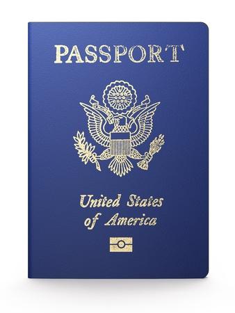 national identity: Passaporto americano su sfondo bianco