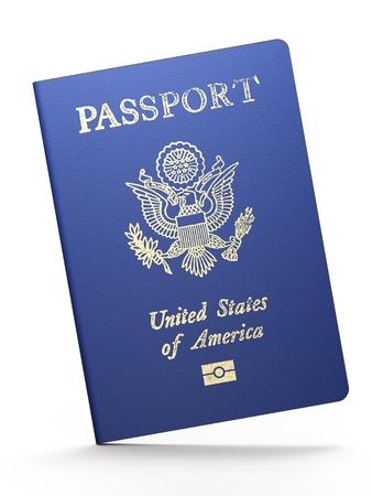 tarjeta visa: Pasaporte estadounidense sobre fondo blanco