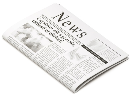 an article: Newspapers on white background
