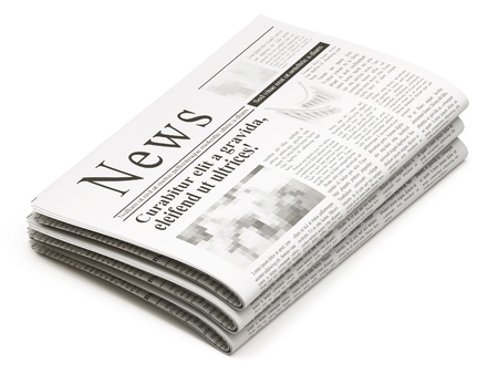 newspaper headline: Newspapers stack on white background