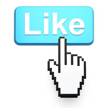 Hand-shaped mouse cursor press Like button on dark background photo