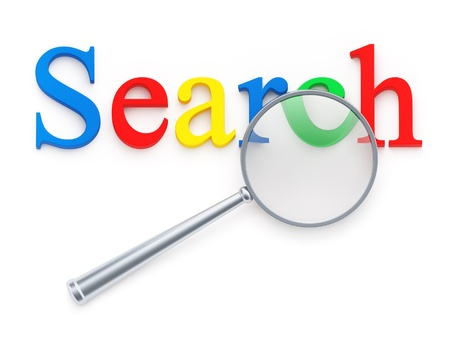 Magnification glass over search word on white background photo