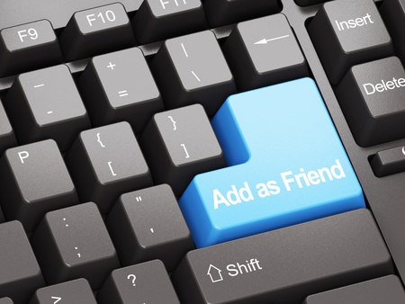Black keyboard with blue Add As Friend button, social network concept Stock Photo - 11699503