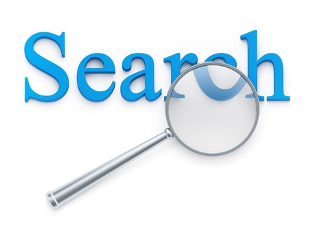magnification: Magnification glass over search word on white background