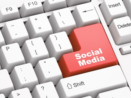 Keyboard with red Social Media button Stock Photo - 11699488