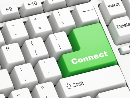 Keyboard with green Connect button Stock Photo - 11699482