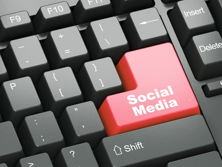 Black keyboard with red Social Media button Stock Photo - 11699508
