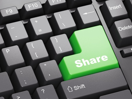 Black keyboard with green Share button Stock Photo - 11699504