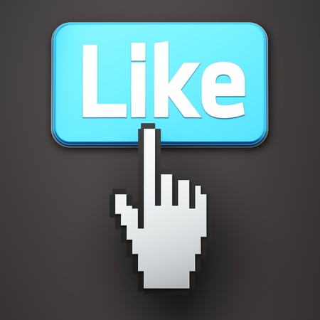 Hand-shaped mouse cursor press Like button on dark background Stock Photo - 11699471