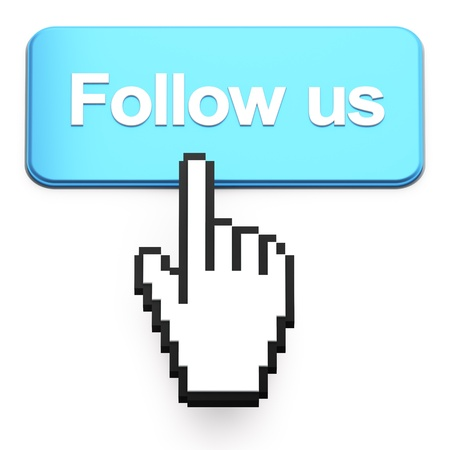 Hand-shaped mouse cursor press Follow Us button on white photo