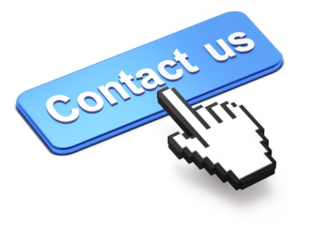 contact us sign: Hand-shaped mouse cursor press Contact Us button on white background Stock Photo
