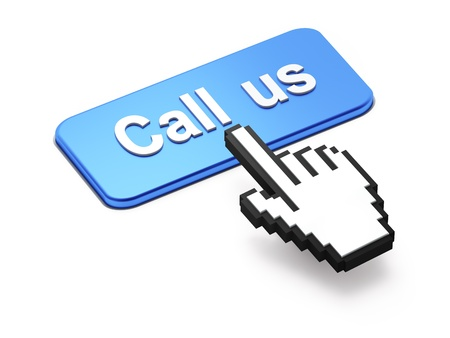 call us: Hand-shaped mouse cursor press Call Us button on white background