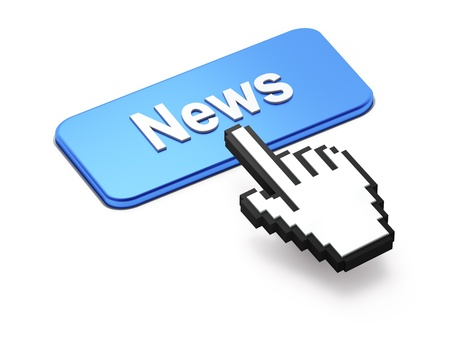 Hand-shaped mouse cursor press News button on white background photo