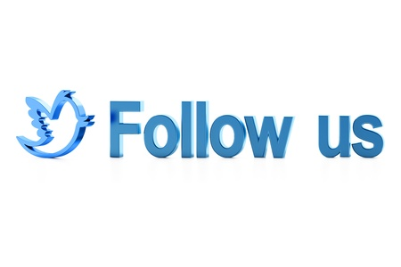Blue bird and Follow Us word on white? 3d render Stock Photo - 11699367