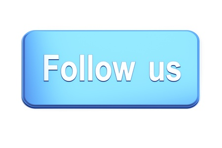 Blue  button with Follow Us text on white, 3d render photo