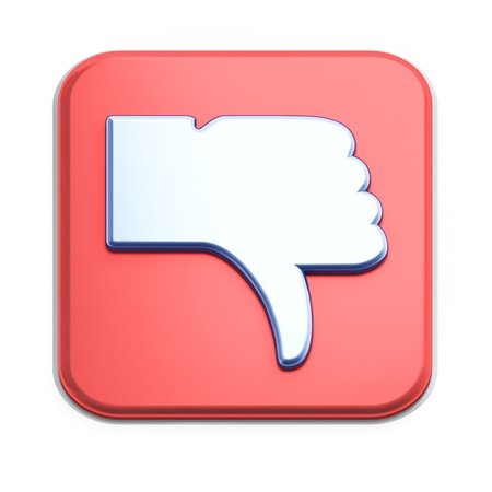 Dislike button 3d  render on white background photo