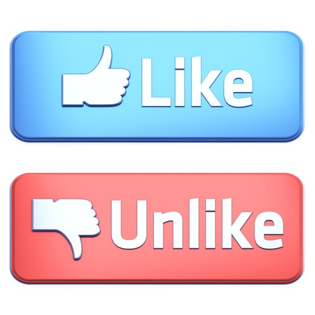 Like and Unlike buttons 3d  render on white background photo