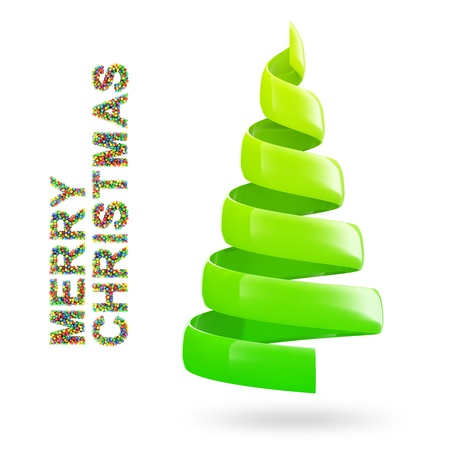 Christmas tree with colorful MERRY CHRISTMAS text on white background photo